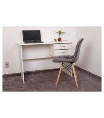 kit escrivaninha com gaveteiro branca + 01 cadeira botonê veludo - grafite