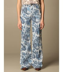 etro jeans violetta etro wide jeans with paisley pattern