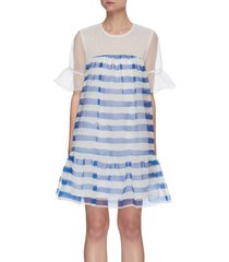 'guilia' sheer collar striped ruffle hem dress
