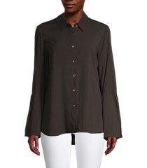 for the republic women's striped button-front shirt - black - size m