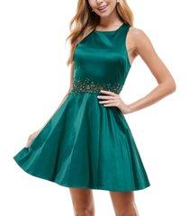 city studios juniors' embellished applique-waist dress