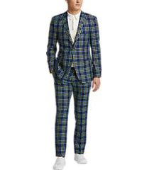 paisley & gray slim fit suit separates coat blue & yellow plaid