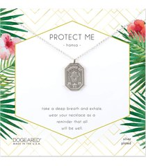 dogeared protect me hamsa tablet necklace silver stone