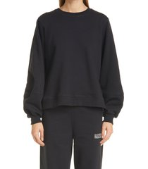 women's ganni balloon sleeve recycled cotton blend sweatshirt, size large - black