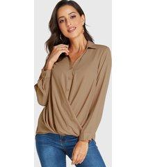 yoins khaki crossed front design revere collar long sleeves blouse