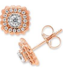 diamond halo stud earrings (1/2 ct. t.w.) in 10k rose gold