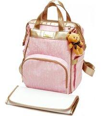 mochila prática nacional multifuncional original baby nut bolsa bebe térmica porta fralda trocador rosa