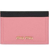 miu miu madras leather card holder - pink