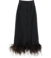 patou midi skirt with ostrich feathers