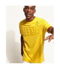 "camiseta masculina longa urban"" com relevo manga curta gola careca amarela"""