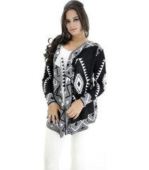 kimono pink tricot geométricos preto/branco