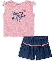 baby girl's hearts 2-piece tied top & denim shorts set