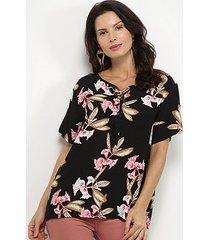 blusa pérola floral amarração feminina
