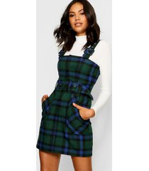 flanneled buckle detail pinafore dress, green