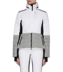 'sari' cinched waist wool contrast panel puffer ski jacket