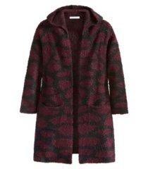 women's plus size giraffe print hooded cardigan