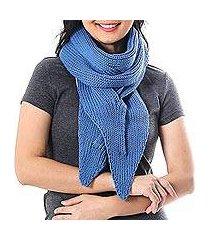 cotton scarf, 'ascot charm in iris' (thailand)