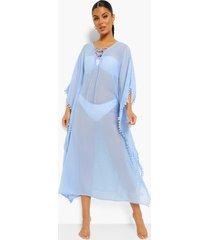 strand jurk met split en bolletjes, powder blue