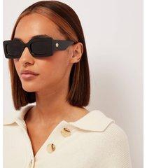 le specs women's oh damn! rectangular sunglasses - black