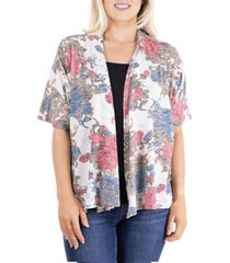 women's short sleeve open front rose print cardigan