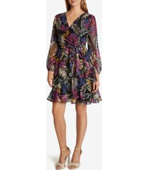 tahari asl chiffon printed tiered dress