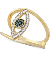 wrapped diamond evil eye ring (1/6 ct. t.w.) in 14k gold, created for macy's