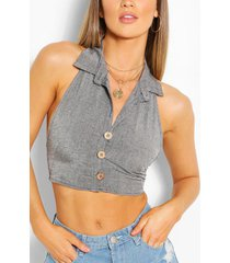 linnen crop top met halter neck, zwart
