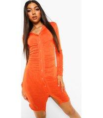 tall gerimpelde strakke blouse jurk, orange