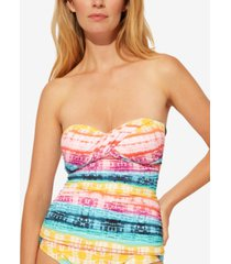 bleu by rod beattie good vibrations twist bandeau tankini top women's swimsuit