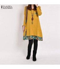 zanzea primavera algodón de las mujeres de lino vestido de otoño de la vendimia vestido hem tamaño de impresión casual o cuello de manga larga del traje del vestido vestidos plus amarillo -amarillo