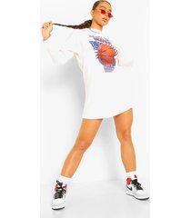 basketbal t-shirtjurk met lange mouwen, white