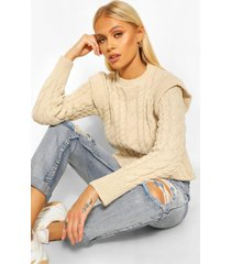shoulder detail cable knit sweater, stone