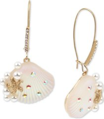 betsey johnson gold-tone pave & imitation pearl seashell linear drop earrings