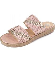 sandalia de cuero rosa meet me 156