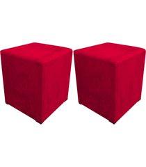 kit 02 puff decorativo dado quadrado suede vermelho - d'rossi