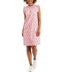 charter club printed ruffled sleeveless shift dress, created for macy's