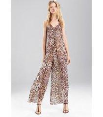 natori shadow leopard jumpsuit, women's, 100% silk, size xs