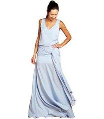 vestido izad em crepe blusado com faixa no quadril feminino