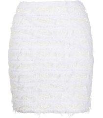 balmain fitted tweed skirt - white
