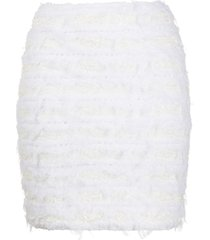 balmain fitted tweed skirt - white