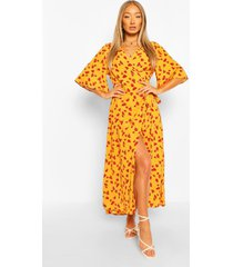 floral print wrap midaxi dress, yellow