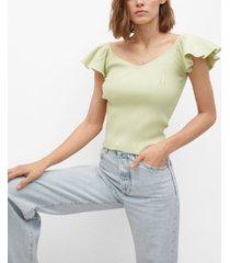 mango women's t-shirt with ruffled sleeves