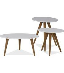kit com mesa de centro e mesas laterais lyam decor retrô branco