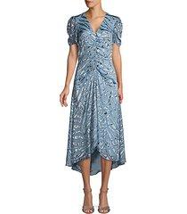 shelley illusion tiger-stripe stretch silk dress
