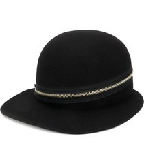 yohji yamamoto zip-detail wide cap - black