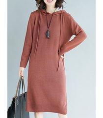 abito casual con maniche lunghe a maniche lunghe con cappuccio per le donne