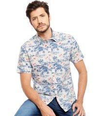 camisa arrow mc hawaiana denim blanco - calce regular