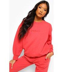 petite acid wash gebleekte oversized sweater met tekst, red