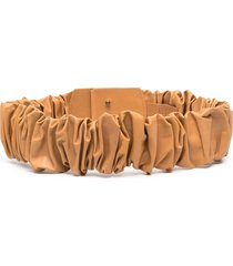 federica tosi ruched leather belt - brown