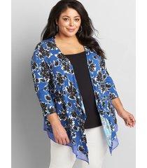 lane bryant women's lane essentials chiffon-trim drape-front cardigan 10/12 bursting floral